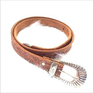 Accessories - Tooled Leather Belt with Silver Buckle Western